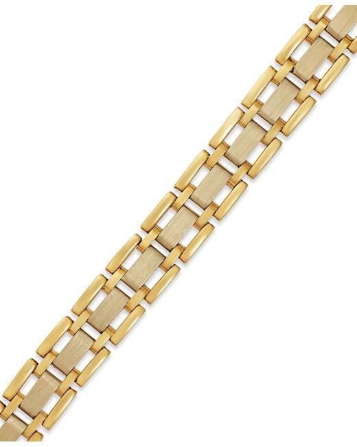 Macy's | Metallic Men's Two-tone Link Bracelet In 10k Gold for Men | Lyst