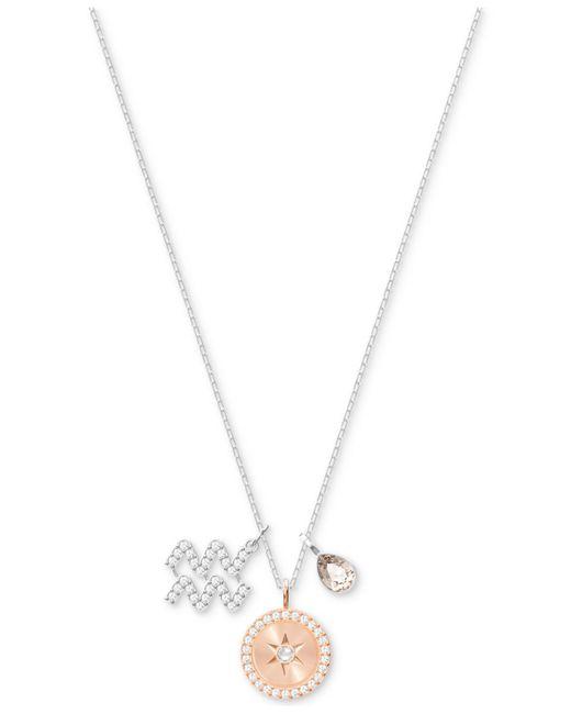 "Swarovski - Metallic Silver-tone Zodiac Pavé, Crystal & Birthstone Charm 14-7/8"" Pendant Necklace - Lyst"