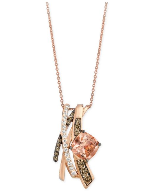 Le Vian | Pink Morganite (1-3/4 Ct. T.w.) And Diamond (5/8 Ct. T.w.) Pendant Necklace In 14k Rose Gold | Lyst
