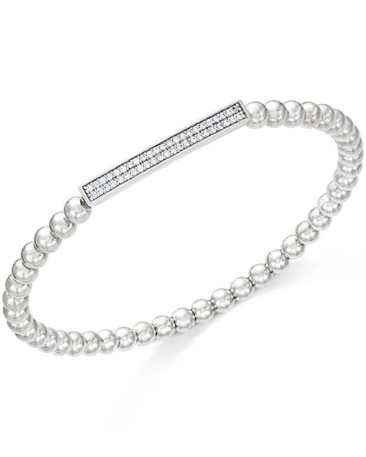 Wrapped in Love - White Diamond Bar Beaded Stretch Bracelet (1/6 Ct. T.w.) In Sterling Silver - Lyst
