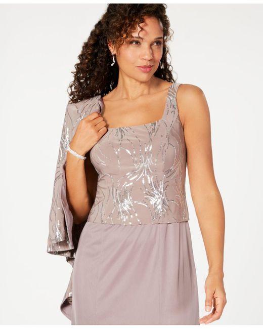 Alex Evenings Chiffon Sleeveless Sequin Midi Dress And