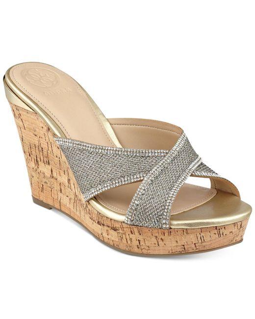 Guess - Metallic Eleonora Platform Wedge Slide Sandals - Lyst