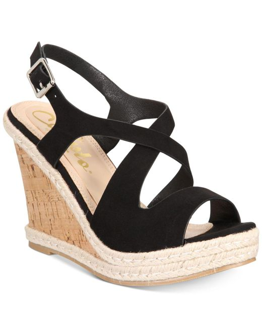 Callisto - Black Brielle Espadrille Platform Wedge Sandals - Lyst