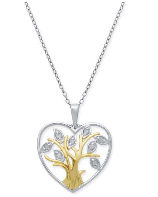 "Macy's - Metallic Diamond Tree Of Life 18"" Pendant Necklace (1/10 Ct. T.w.) In Sterling Silver & 18k Gold-plate - Lyst"