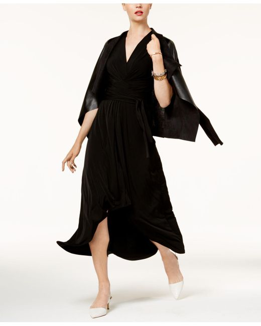 Michael Kors - Black Petite High-low Faux-wrap Dress - Lyst