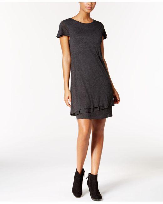 Kensie | Gray Heathered Tiered-hem Dress | Lyst