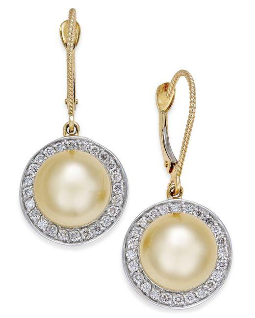 Macy's - Metallic Cultured Golden South Sea Pearl (9mm) And Diamond (1/2 Ct. T.w.) Drop Earrings In 14k Gold - Lyst