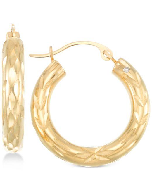 Signature Gold - Metallic Diamond Cut Small Hoop Earrings In 14k Gold - Lyst
