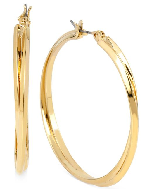 Hint Of Gold | Metallic Double Hoop Earrings In 14k Gold Over Sterling Silver | Lyst