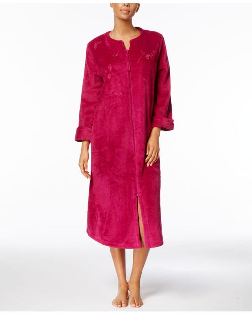 Miss Elaine | Multicolor Petite Fleece Embroidered Robe | Lyst