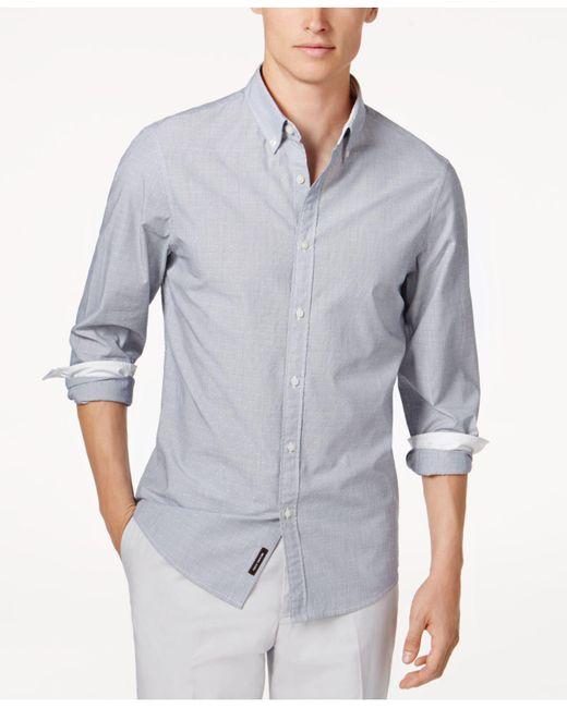 Michael Kors - Blue Men's Striped Dobby Shirt for Men - Lyst