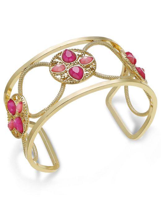 INC International Concepts | Gold-tone Pink Stone Openwork Cuff Bracelet | Lyst