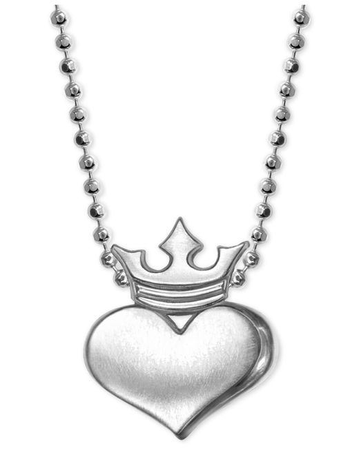 Alex Woo - Metallic Heart And Crown Pendant Necklace In Sterling Silver - Lyst