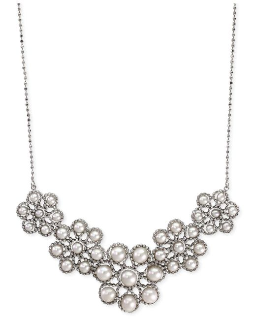 Effy Collection - Metallic Effy Cultured Freshwater Pearl Cluster Frontal Necklace In Sterling Silver (3-1/2mm) - Lyst