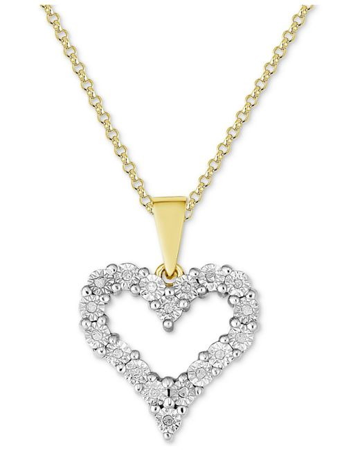 Macy's | Metallic Diamond Heart Miracle Plate Pendant Necklace (1/10 Ct. T.w.) In Sterling Silver | Lyst