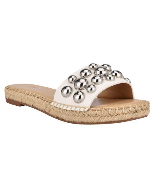 Nine West White Blast Studded Espadrille Slide Sandals