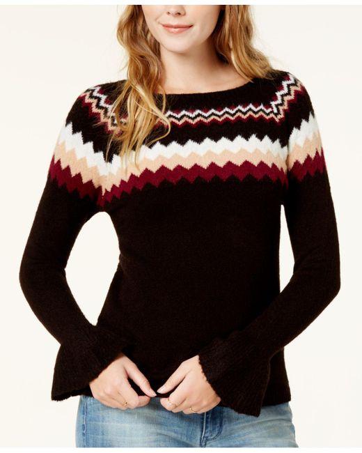 Kensie   Black Fair Isle Bell-sleeve Sweater   Lyst