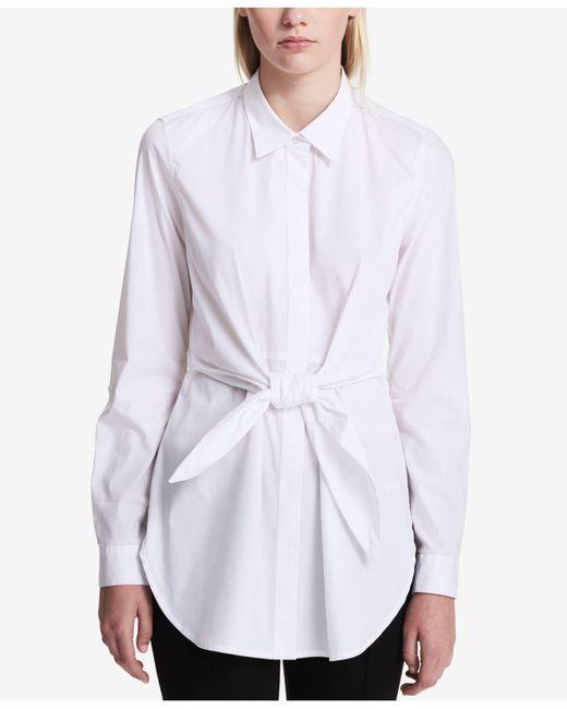Calvin Klein - White Cotton Tie-front Blouse - Lyst