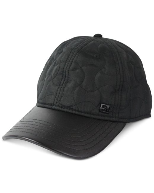 Sean John - Black Faux Leather Quilted Adjustable Baseball Cap for Men - Lyst