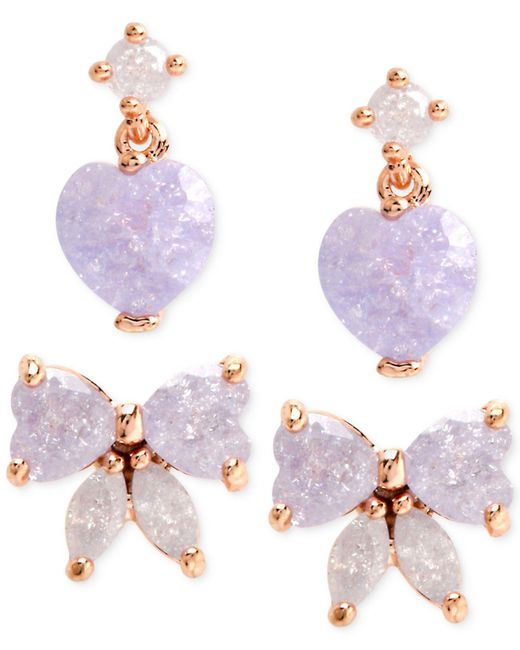 Betsey Johnson | Blue Gold-tone Purple Bow And Heart Stud Earring Set | Lyst