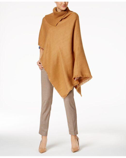 Anne Klein | Natural Camel Woven Turtleneck Poncho | Lyst
