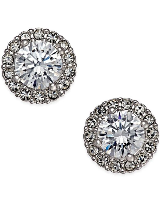 Danori - Metallic Silver-tone Framed Crystal Stud Earrings - Lyst