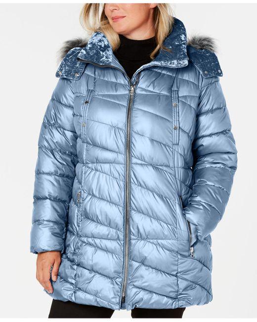 Marc New York Blue Plus Size Hooded Faux-fur-trim Puffer Coat