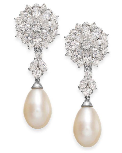 Arabella - Metallic Cultured Freshwater Pearl And Swarovski Zirconia Drop Earrings In Sterling Silver (8mm) - Lyst