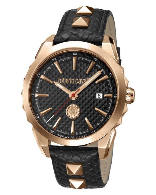Roberto Cavalli Swiss Quartz Black Calfskin Leather Strap Watch, 42mm for men