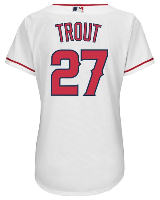 Adidas - White Majestic Women's Mike Trout Los Angeles Angels Of Anaheim Replica Jersey - Lyst