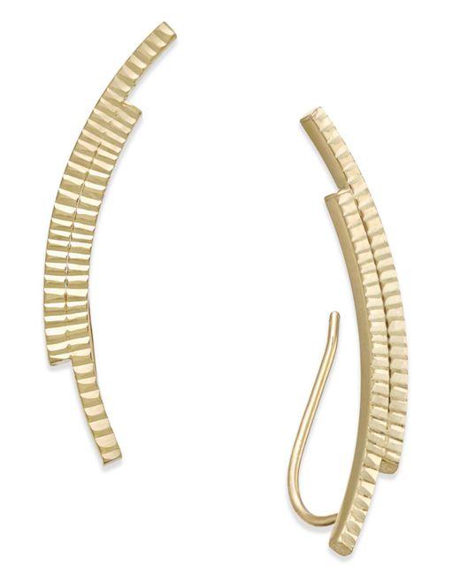 Macy's | Gray Textured Double Bar Ear Climber Earrings In 10k Gold | Lyst