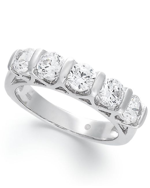 Macy's | Certified Five-stone Diamond Band Ring In 14k White Gold (1-1/2 Ct. T.w.) | Lyst