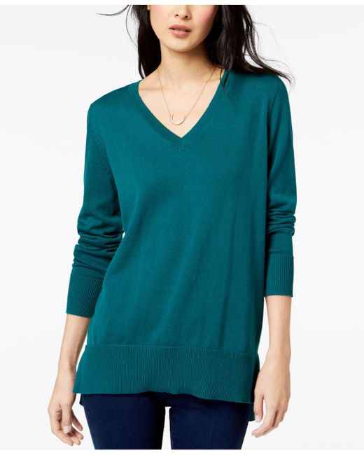 Maison Jules - Multicolor V-neck Tunic Sweater, Created For Macy's - Lyst