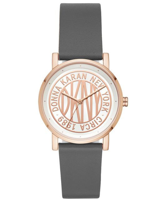 DKNY - Soho Gray Leather Strap Watch 34mm, Created For Macy's - Lyst