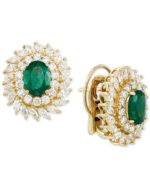 Rare Featuring Gemfields - Metallic Certified Emerald (1-9/10 Ct. T.w.) And Diamond (2-1/3 Ct. T.w.) Stud Earrings In 14k Gold - Lyst