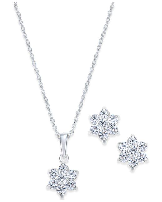 Giani Bernini - Metallic Cubic Zirconia Floral Pendant Necklace And Earrings Set In Sterling Silver - Lyst