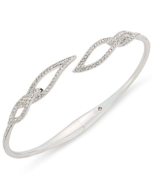 Danori - Multicolor Silver-tone Pavé Leaf Open Bracelet - Lyst