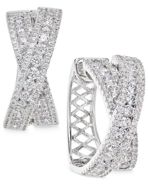 Arabella - Metallic Swarovski Zirconia Crisscross Hoop Earrings In Sterling Silver - Lyst