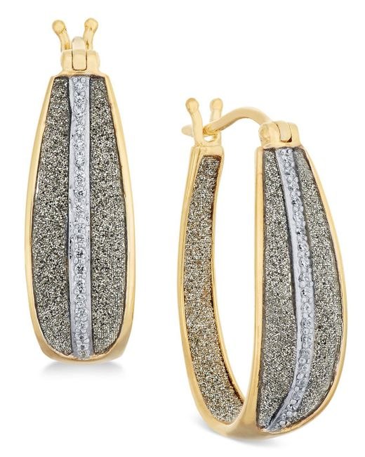 Macy's - Metallic Diamond Glitter Hoop Earrings (1/3 Ct. T.w.) In 18k Gold Over Sterling Silver - Lyst