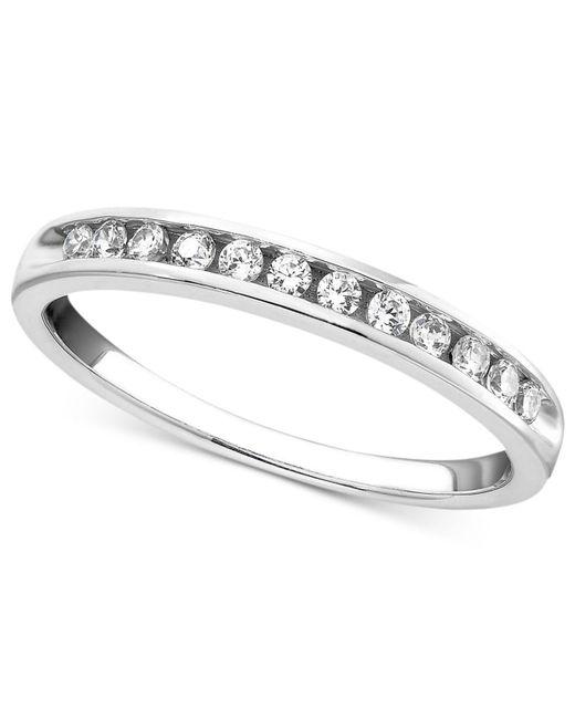 Macy's - Metallic Diamond Band Ring In 14k White Gold (1/4 Ct. T.w.) - Lyst