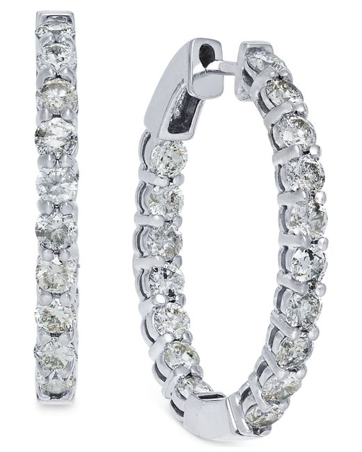 Macy's | Metallic Diamond Hoop Earrings In 10k White Gold (4 Ct. T.w.) | Lyst