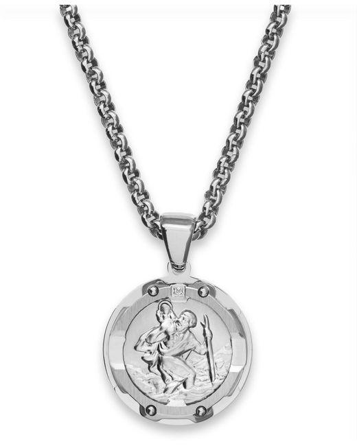 Macy's | Metallic Men's St. Christopher Diamond Pendant Necklace In Stainless Steel for Men | Lyst
