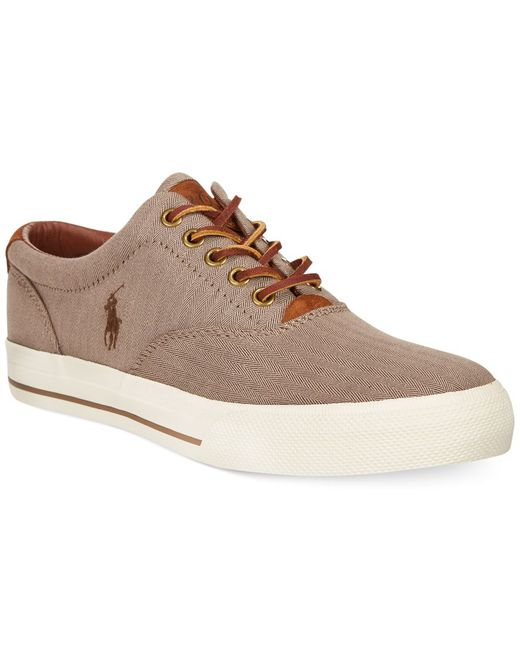 Polo Ralph Lauren | Natural Vaughn Chambray Herringbone Sneakers for Men | Lyst