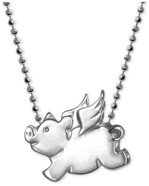 Alex Woo | Metallic Little Pig Zodiac Pendant Necklace In Sterling Silver | Lyst