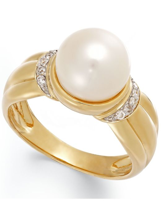 Macy's | Metallic Cultured Freshwater Pearl (9 Mm) And Diamond Accent Ring In 14k Gold | Lyst