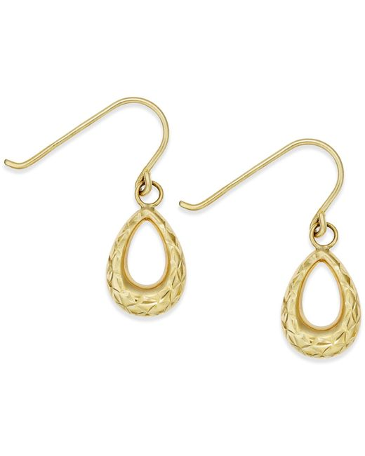 Macy's | Metallic Diamond-cut Teardrop Earrings In 14k Gold | Lyst