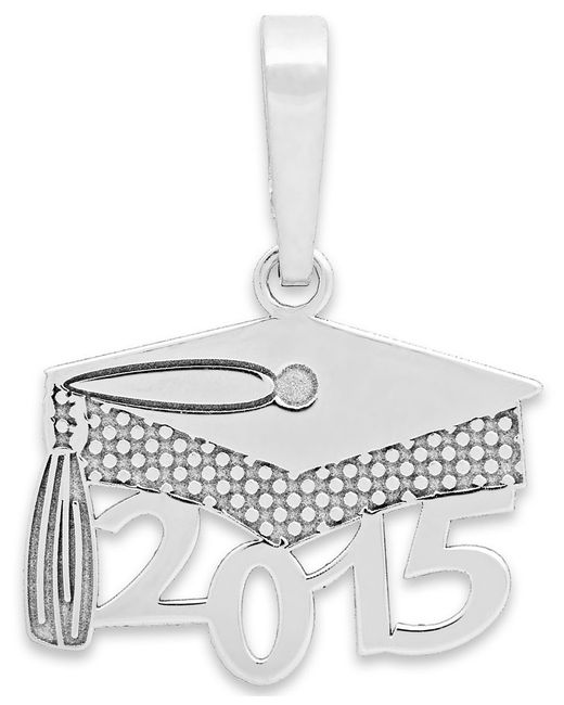 Macy's | 2015 Graduation Cap Charm Pendant In 14k Gold And 14k White Gold | Lyst