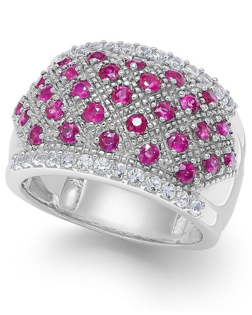 Macy's | Metallic Ruby (1-1/2 Ct. T.w.) And White Sapphire (3/4 Ct. T.w.) Ring In Sterling Silver | Lyst