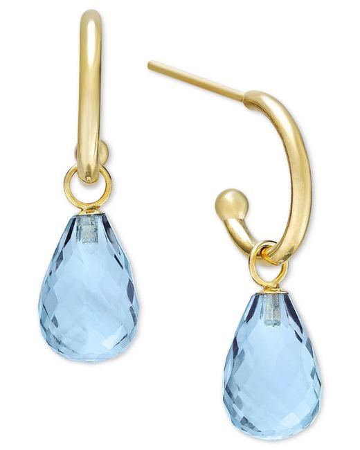 Macy's | Blue Topaz Hoop Earrings In 14k Gold (8 Ct. T.w.) | Lyst