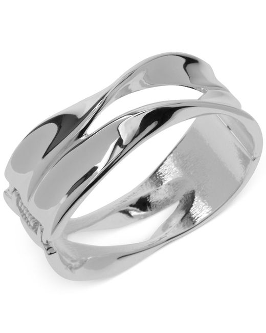 Robert Lee Morris   Metallic Silver-tone Sculptural Hinged Bangle Bracelet   Lyst